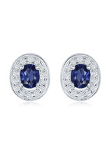 14K White Gold Oval Sapphire and Diamond Earrings, S:  0.80ct, D: 0.30ct