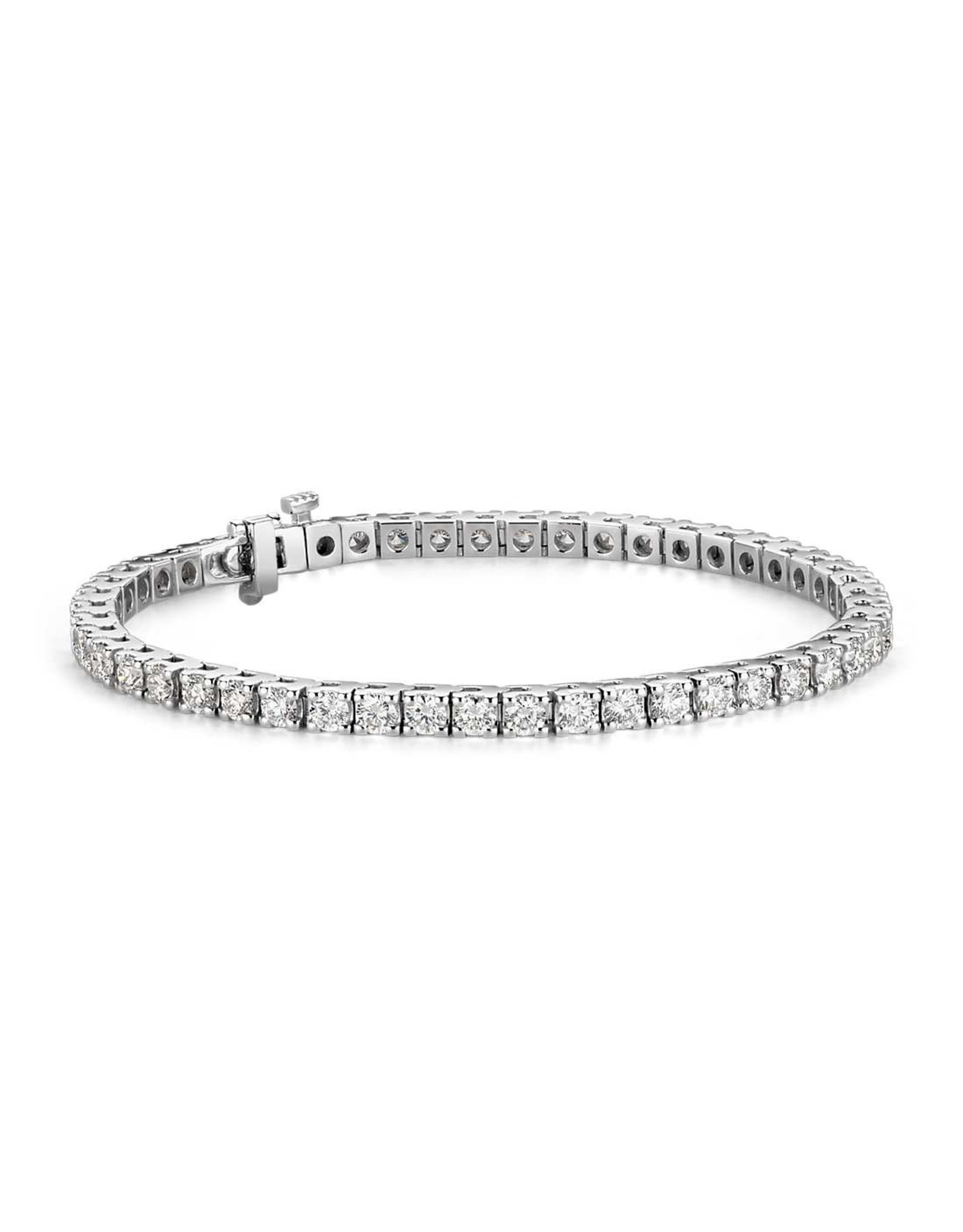 14K White Gold Classic Diamond Tennis Bracelet, D: 5.07ct