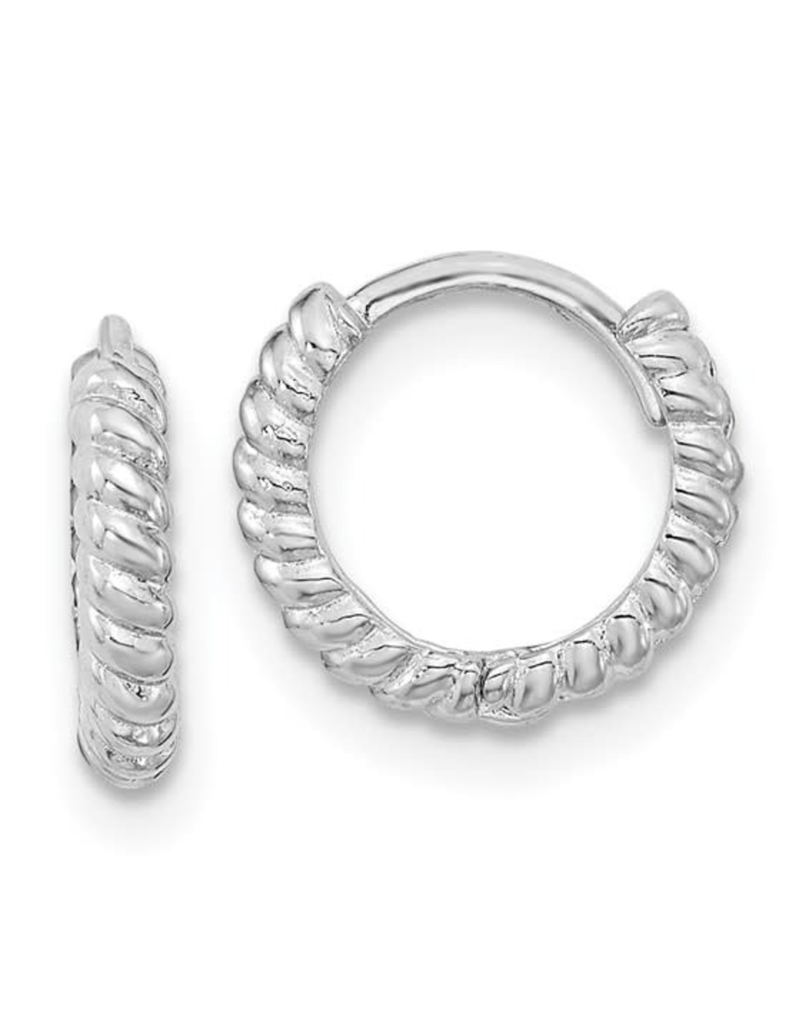 """14K White Gold Twisted Rope Huggies, 0.40"""""""