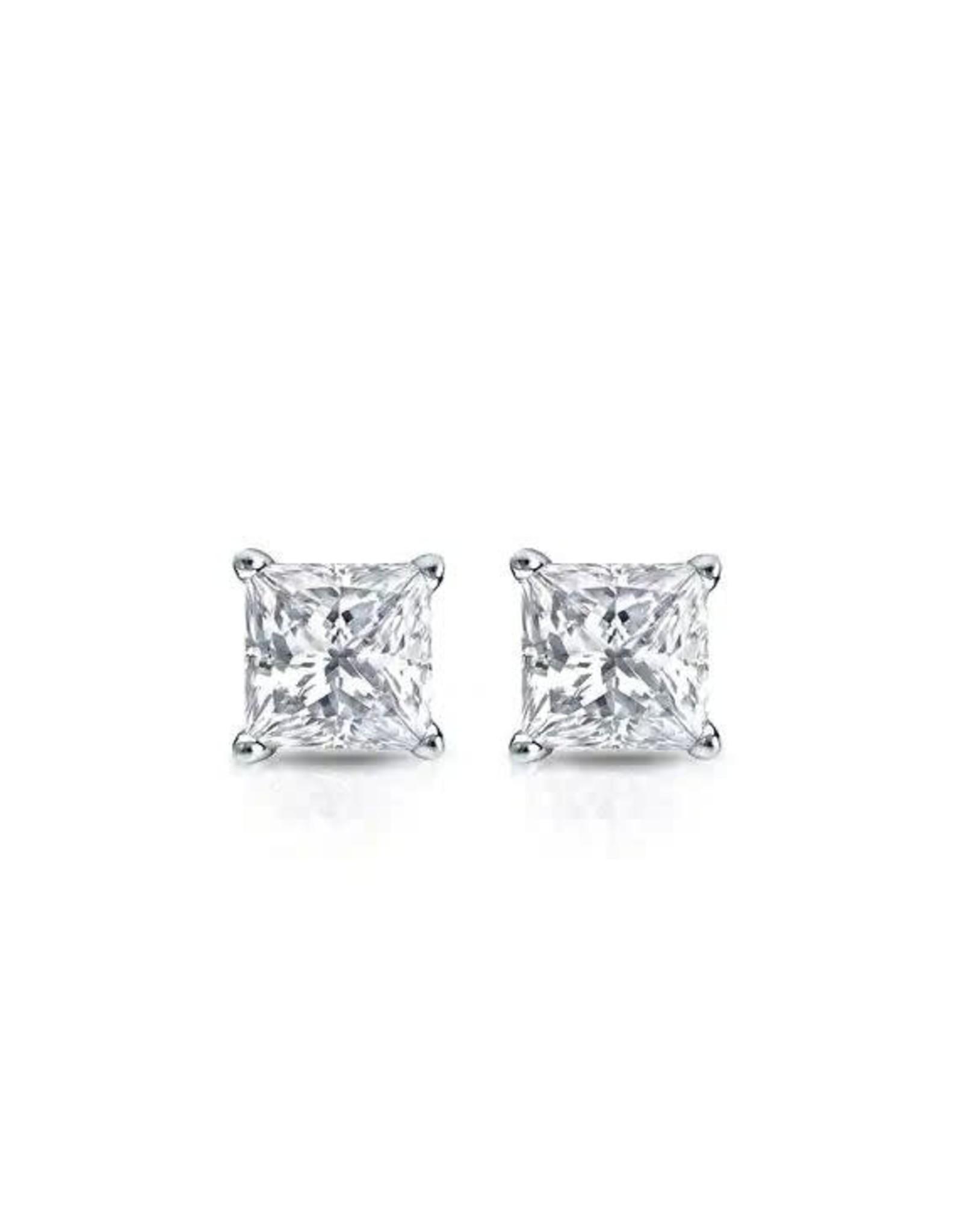 18K White Gold Princess Cut Diamond Studs, D: 0.82ct