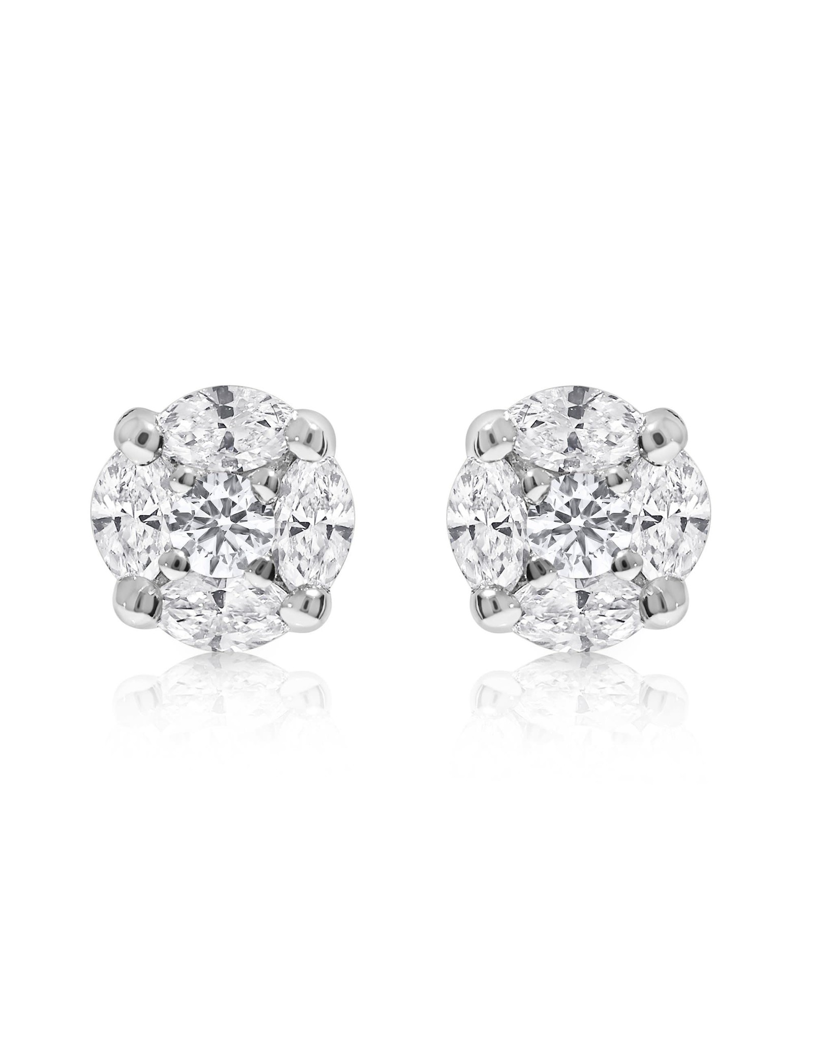 14K White Gold Marquise Diamond Cluster Stud Earrings, D: 1.80ct