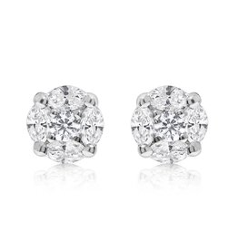 14K W/G Marquise Diamond Cluster Stud Earrings