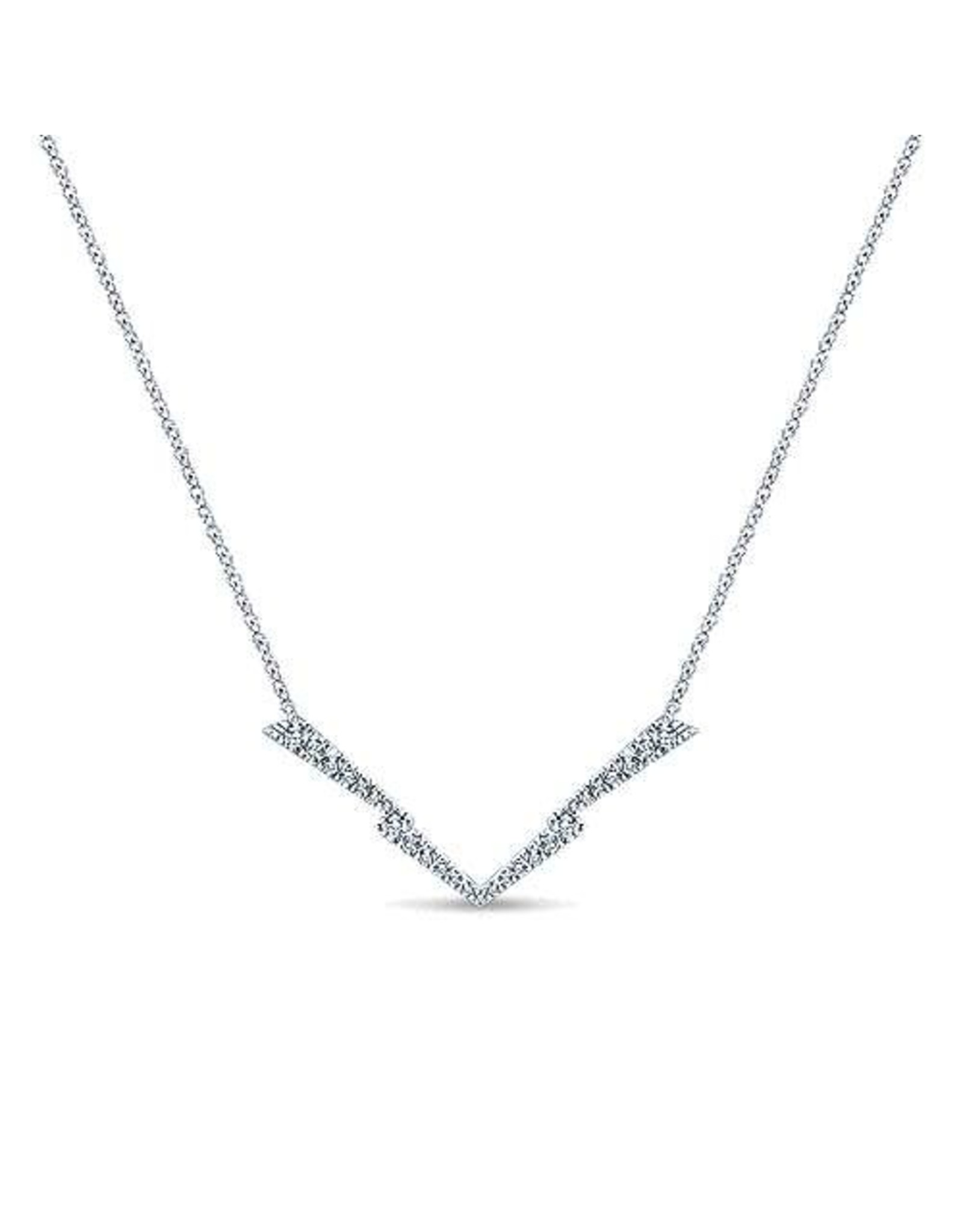 14K White Gold Diamond V Necklace, D: 0.29ct