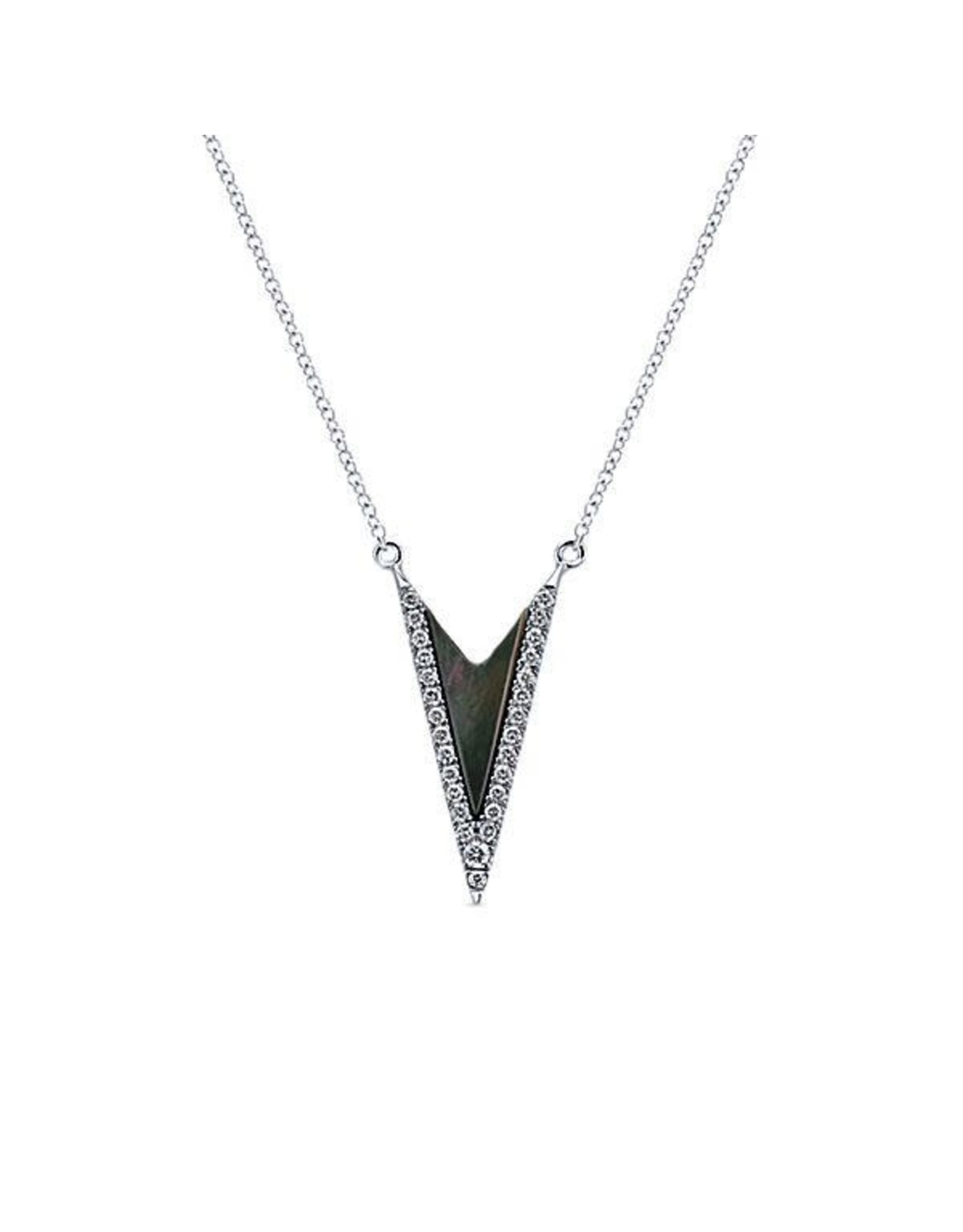14K White Gold Black Mother of Pearl and Diamond Necklace, D: 0.15ct