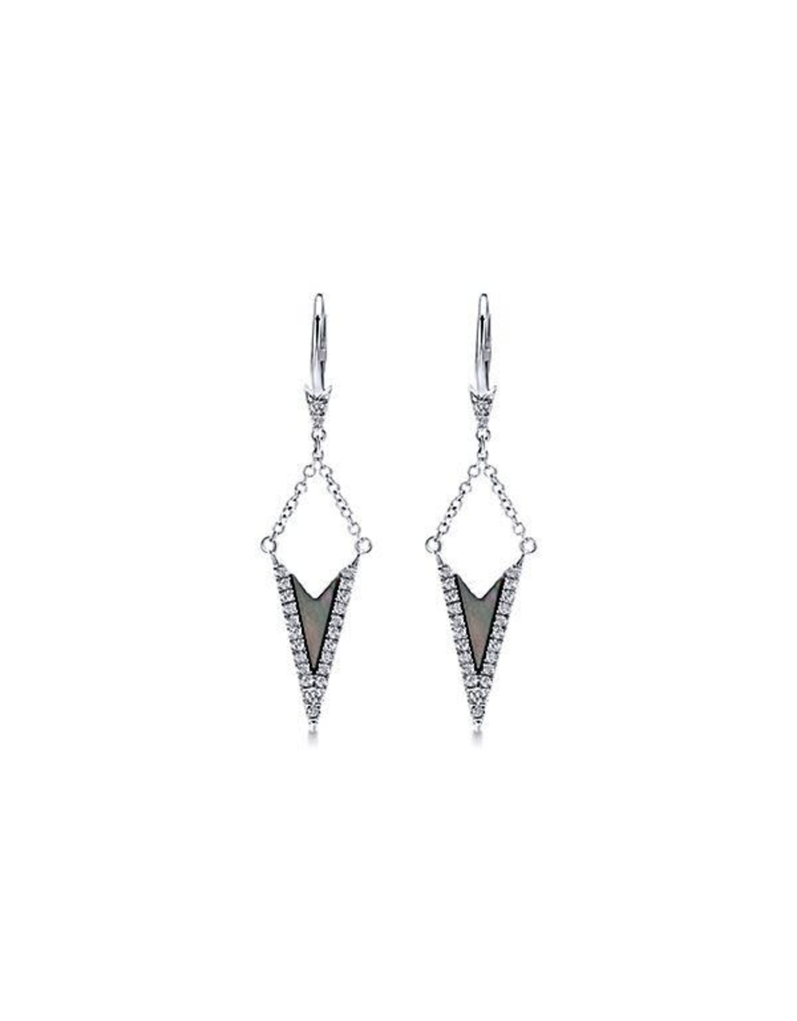 14K White Gold Black Mother of Pearl and Diamond Earrings D: 0.23ct