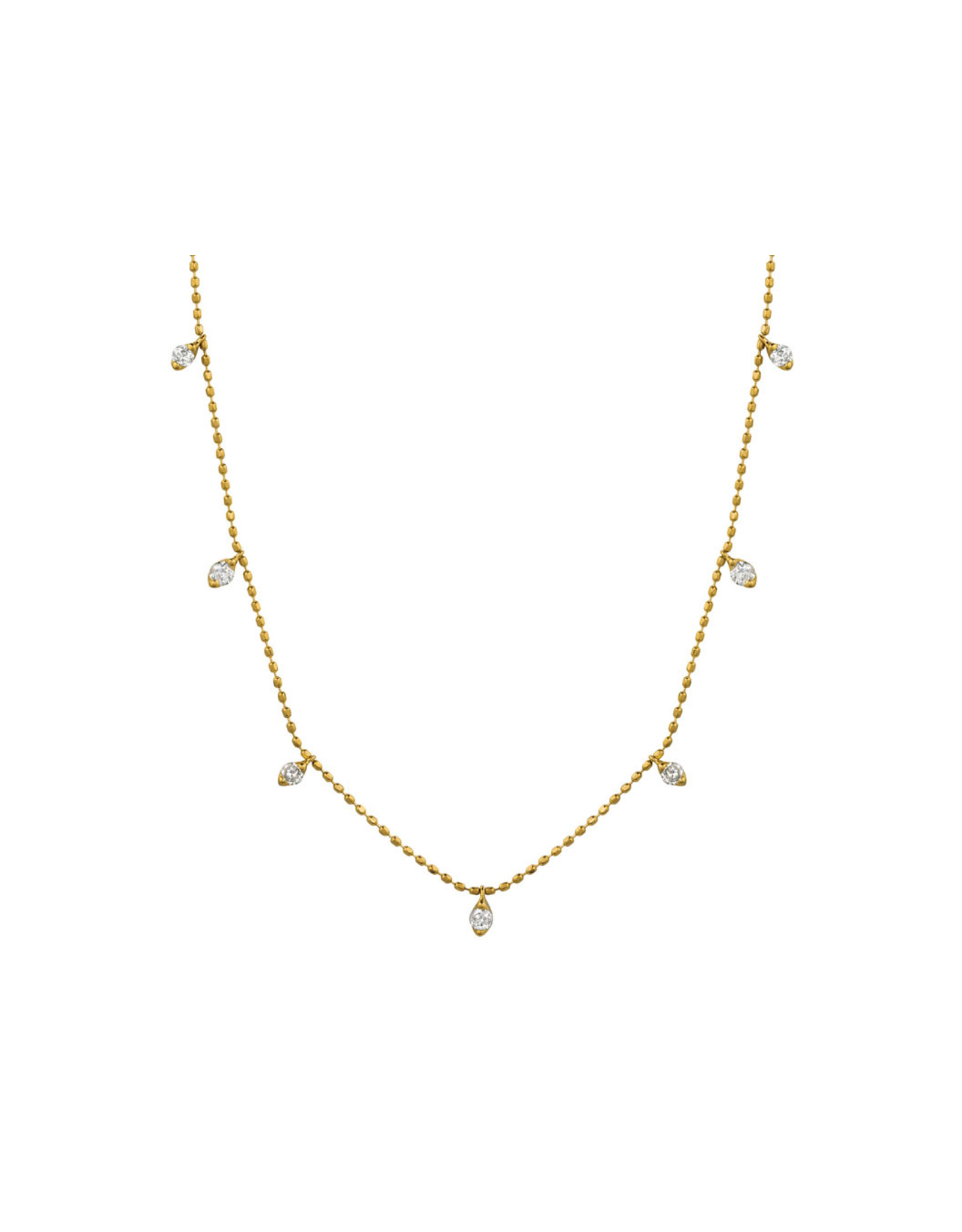 14K Yellow Gold Dainty Diamond Dangle Adjustable Necklace, D:  0.50ct