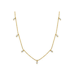 14K Y/G Dainty Diamond Dangle Adjustable Necklace