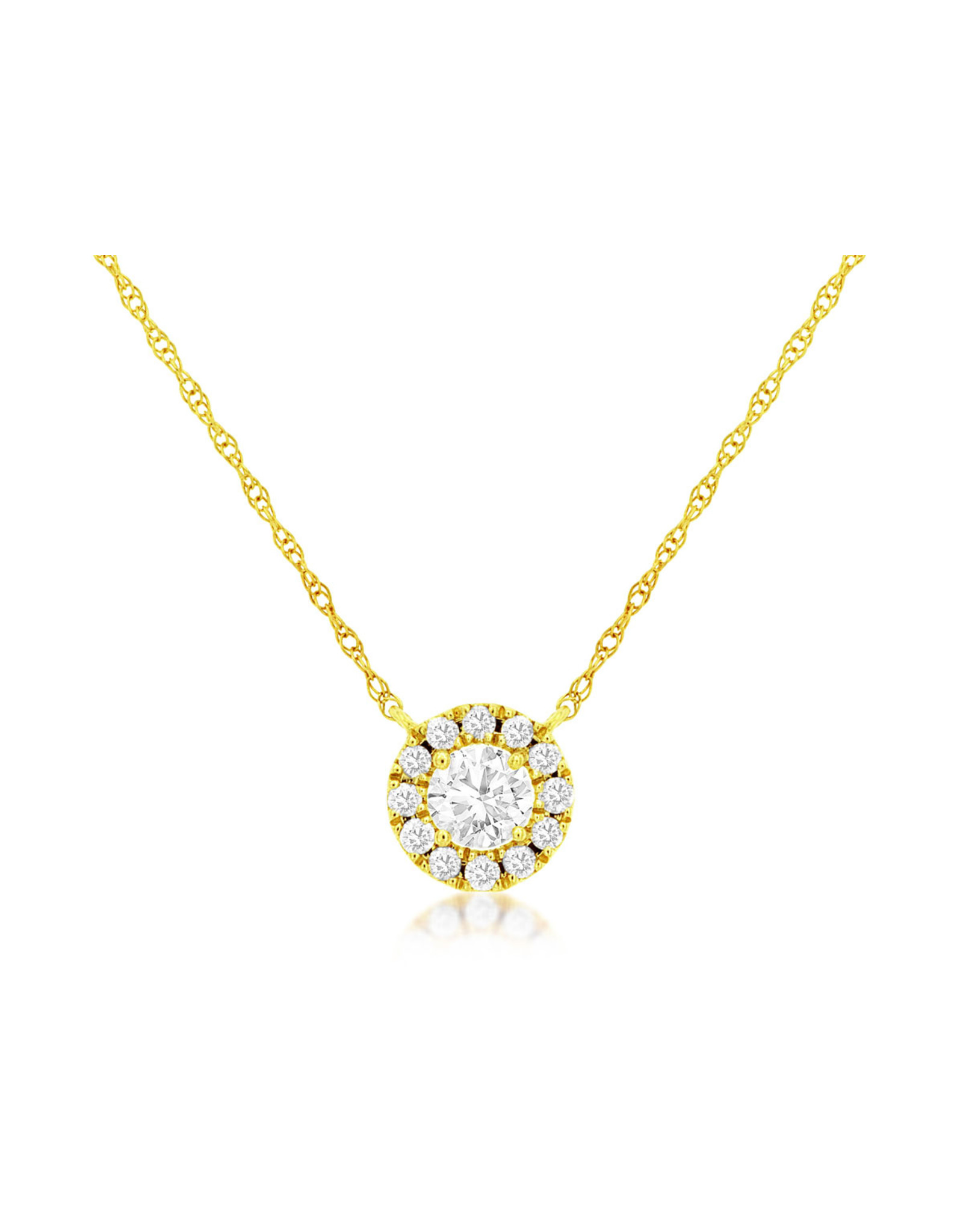 14K Yellow Gold Simple Diamond Halo Necklace, D: 0.37ct