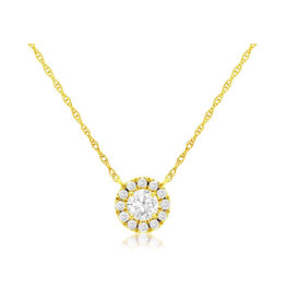 14K Y/G Simple Diamond Halo Necklace