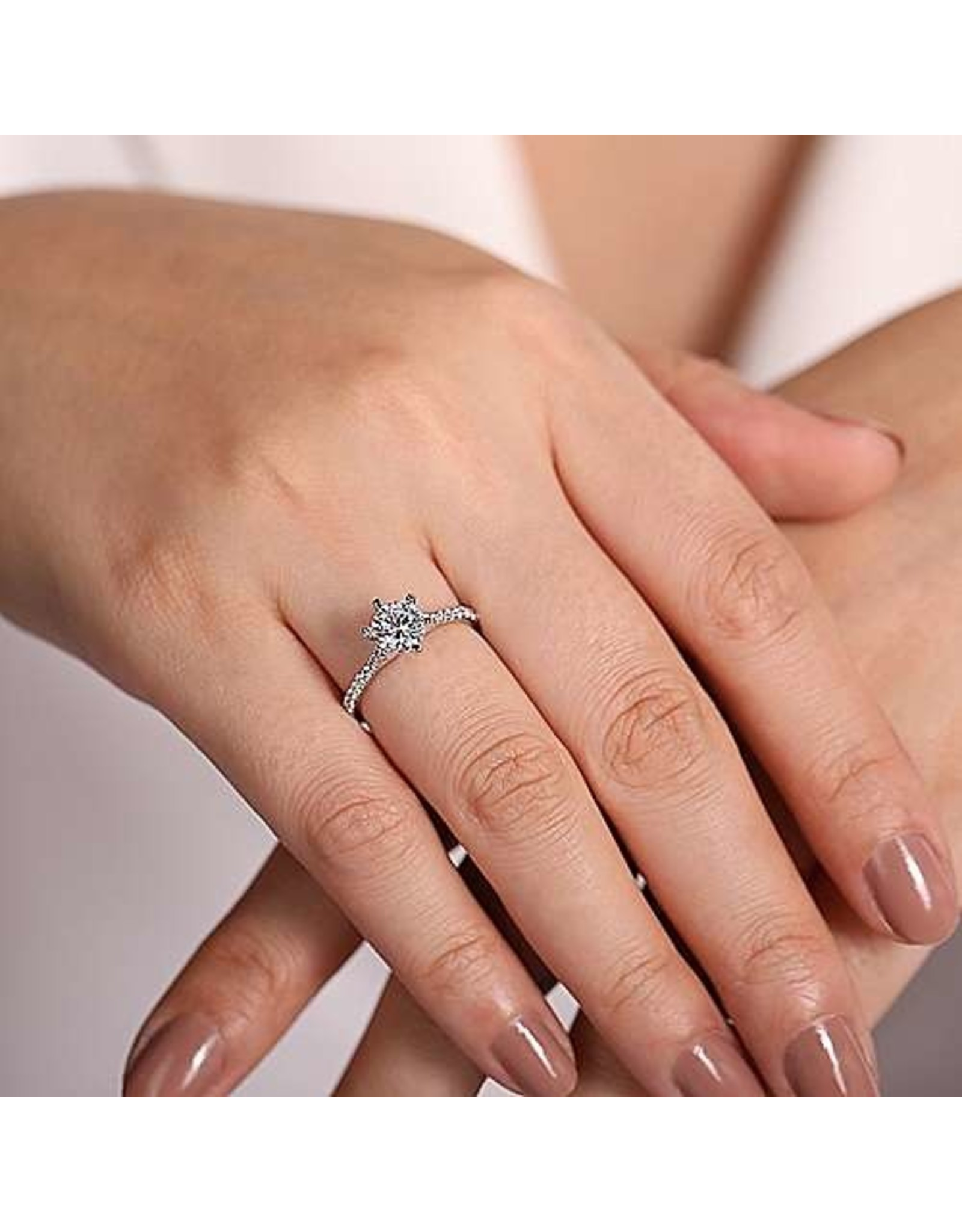 14K White Gold Round Brilliant Diamond Engagement Ring, D: 1.02ct, H, SI2
