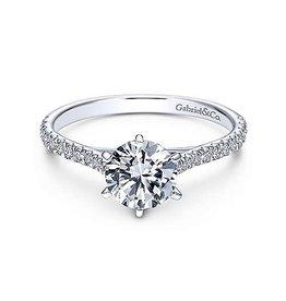 14K W/G Round Brilliant Diamond Engagement Ring
