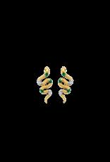 Sizzling Snake Malachite Earrings- 7827EM
