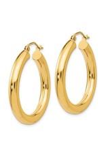 "14K Lightweight Classic Tube Hoop Earrings, 1.25"", 2.35dwts"