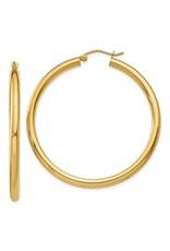 "14K Lightweight Classic Tube Hoop Earrings, 1.75"", 2.20dwts"