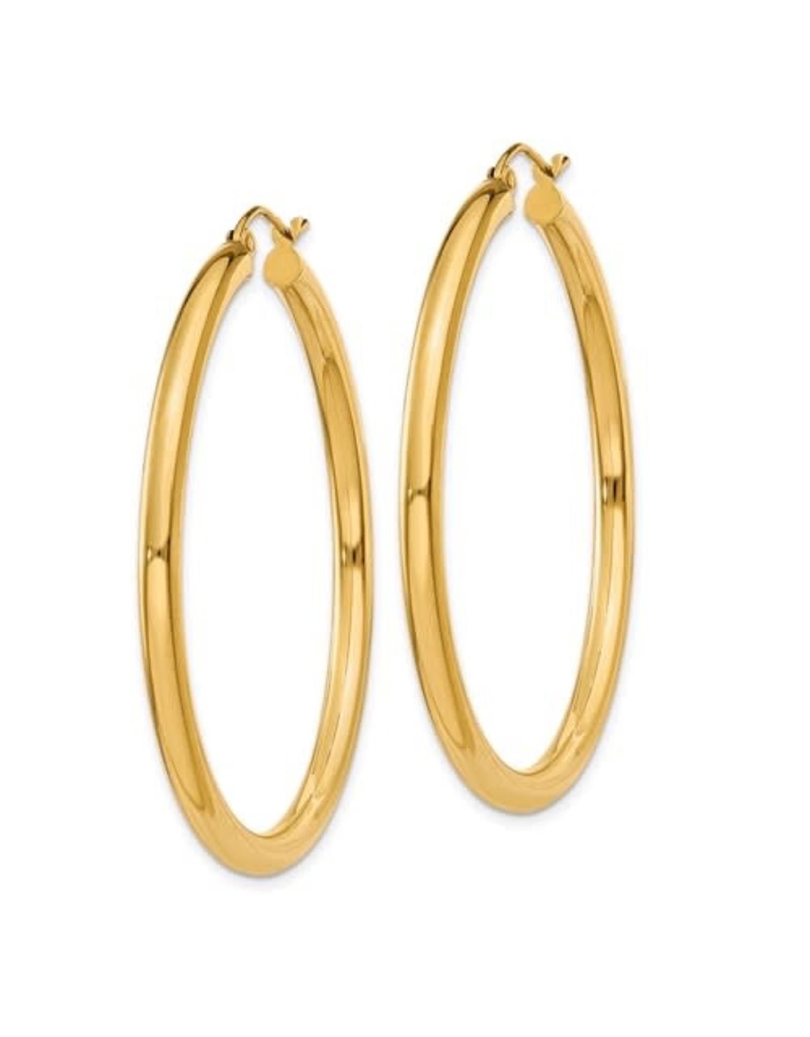 "14K Lightweight Classic 3mm Tube Hoop Earrings, 1.75"", 2.20dwts"
