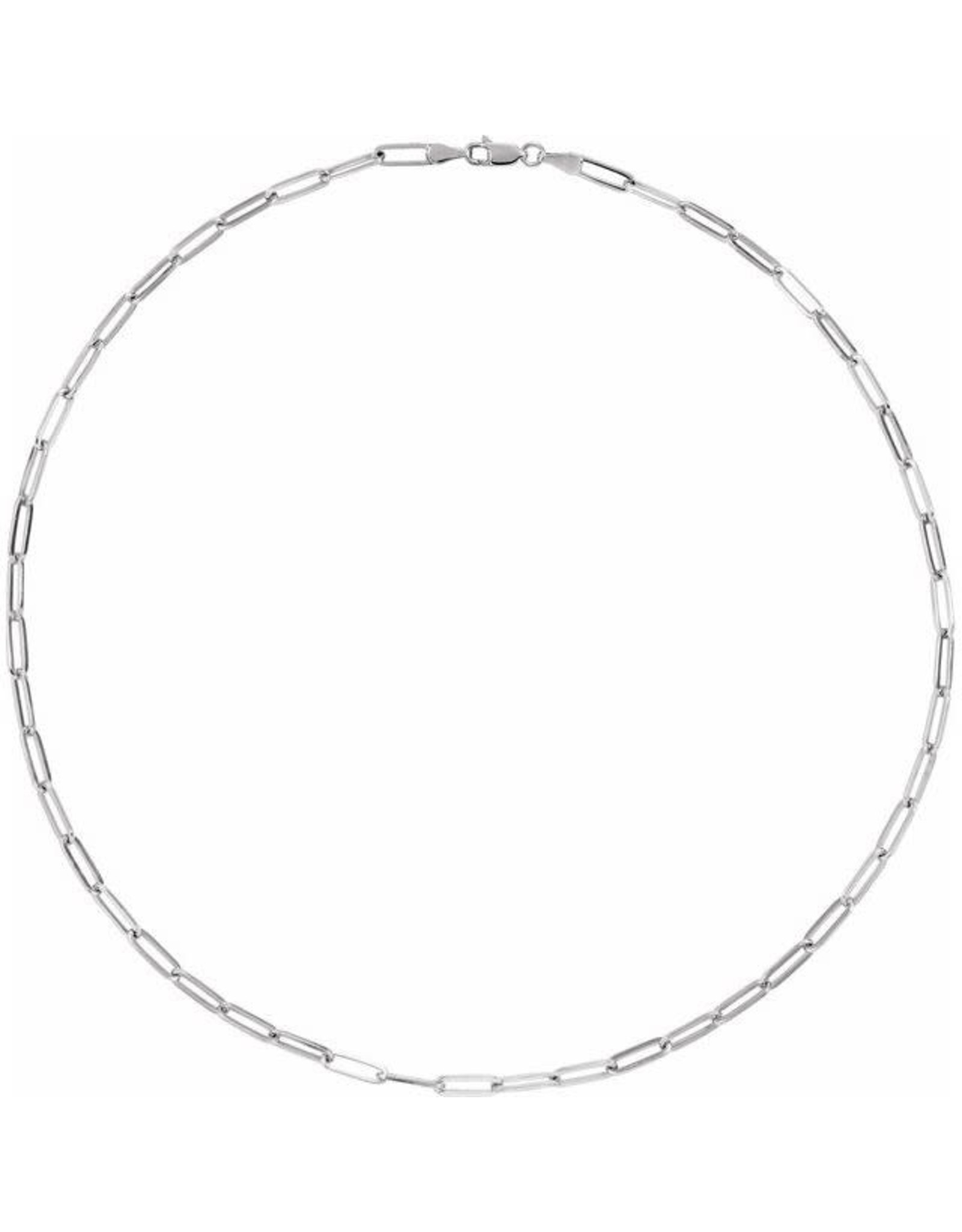 """14K White Gold Paperclip Necklace, 18"""", 7.4dwts"""