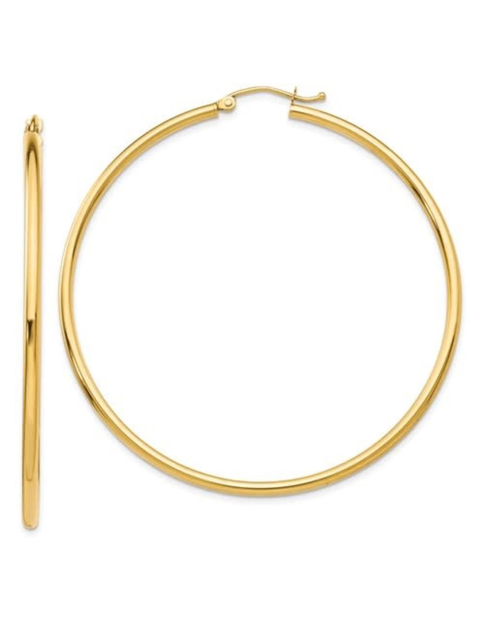 """14K Yellow Gold Thin Lightweight Hoops, 1.50"""", 1.75dwts"""