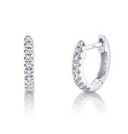 14K W/G Petite Diamond Huggies