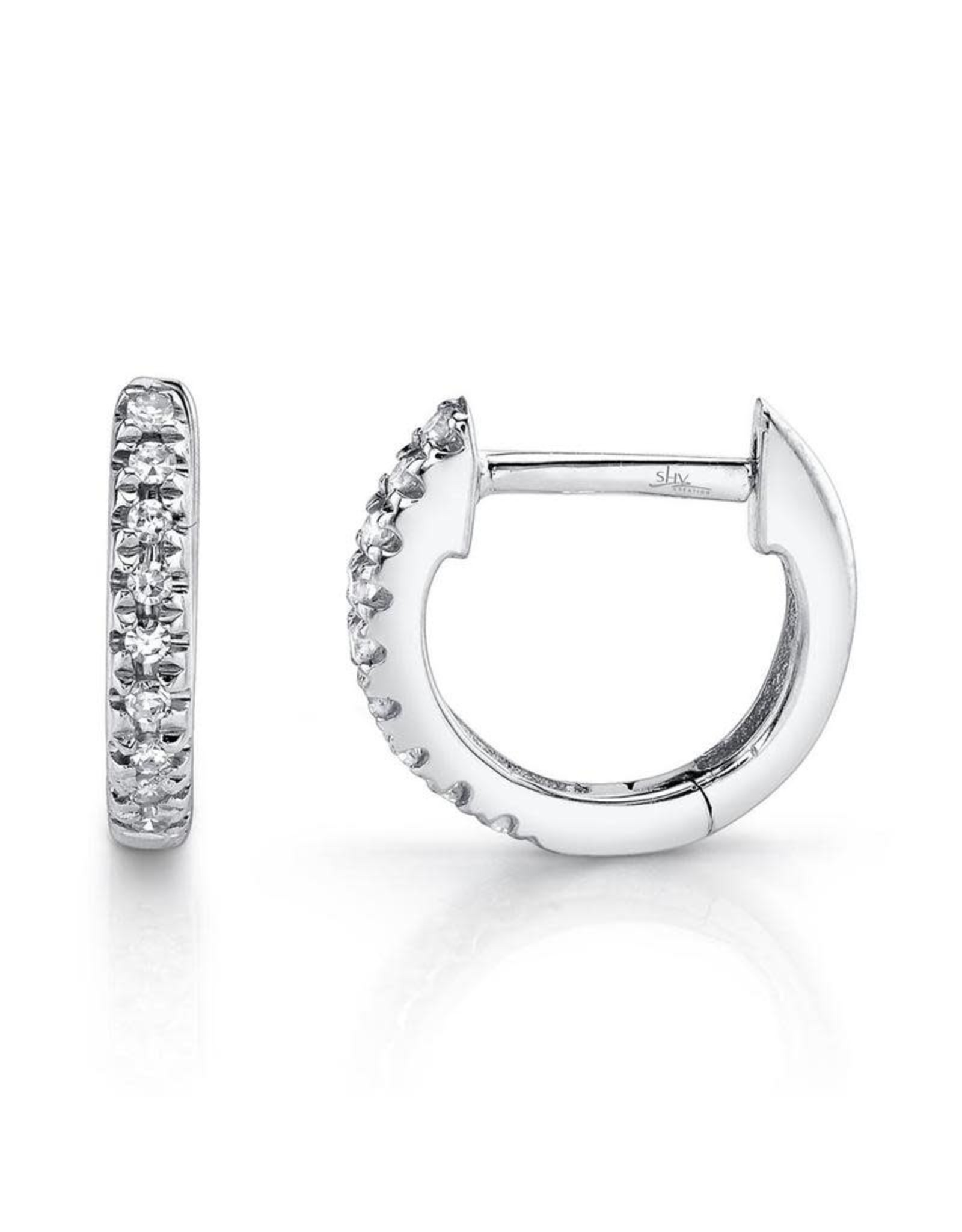 14K White Gold Petite Diamond Huggies, D: 0.04ct