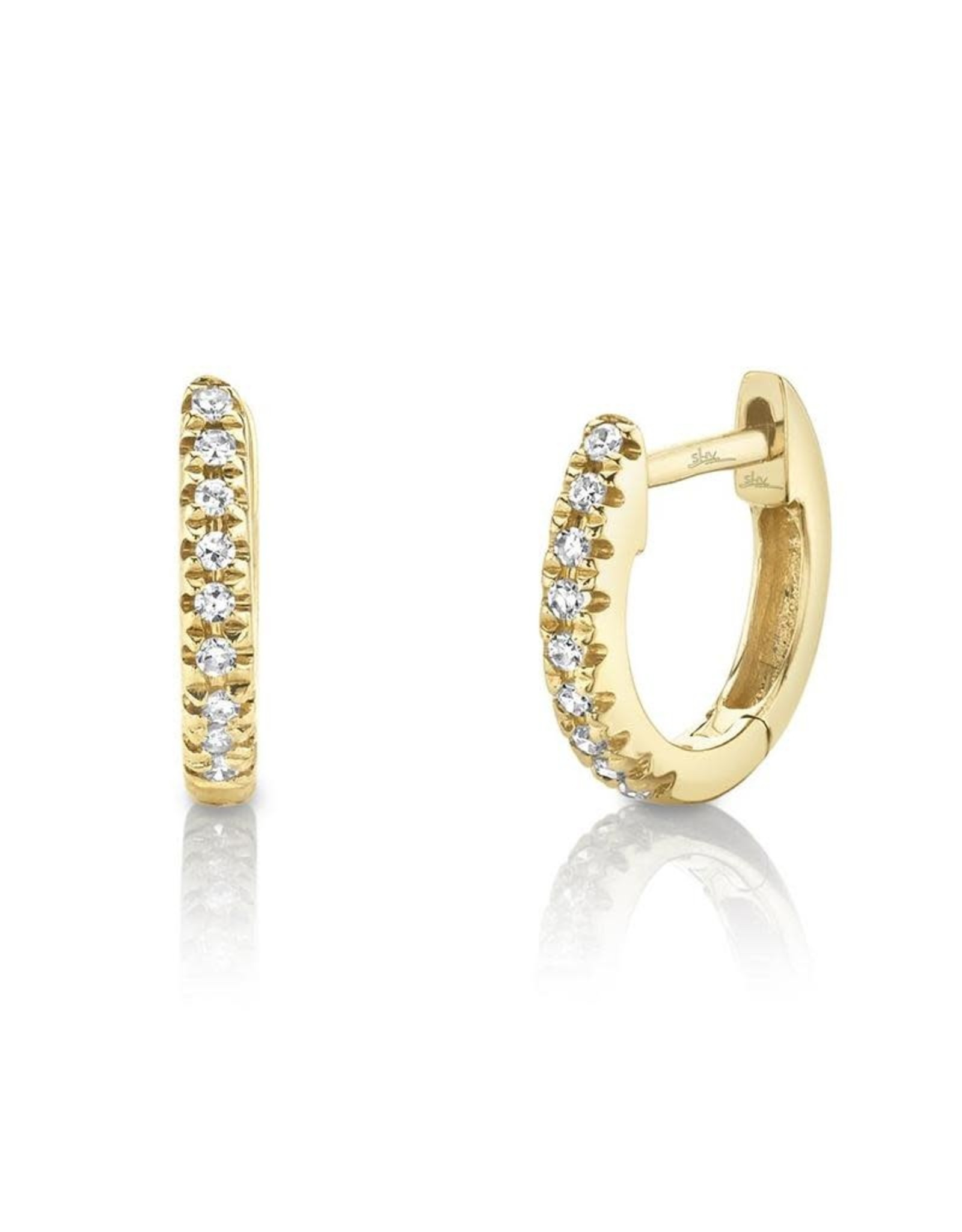 14K Yellow Gold Petite Diamond Huggies, D: 0.04ct