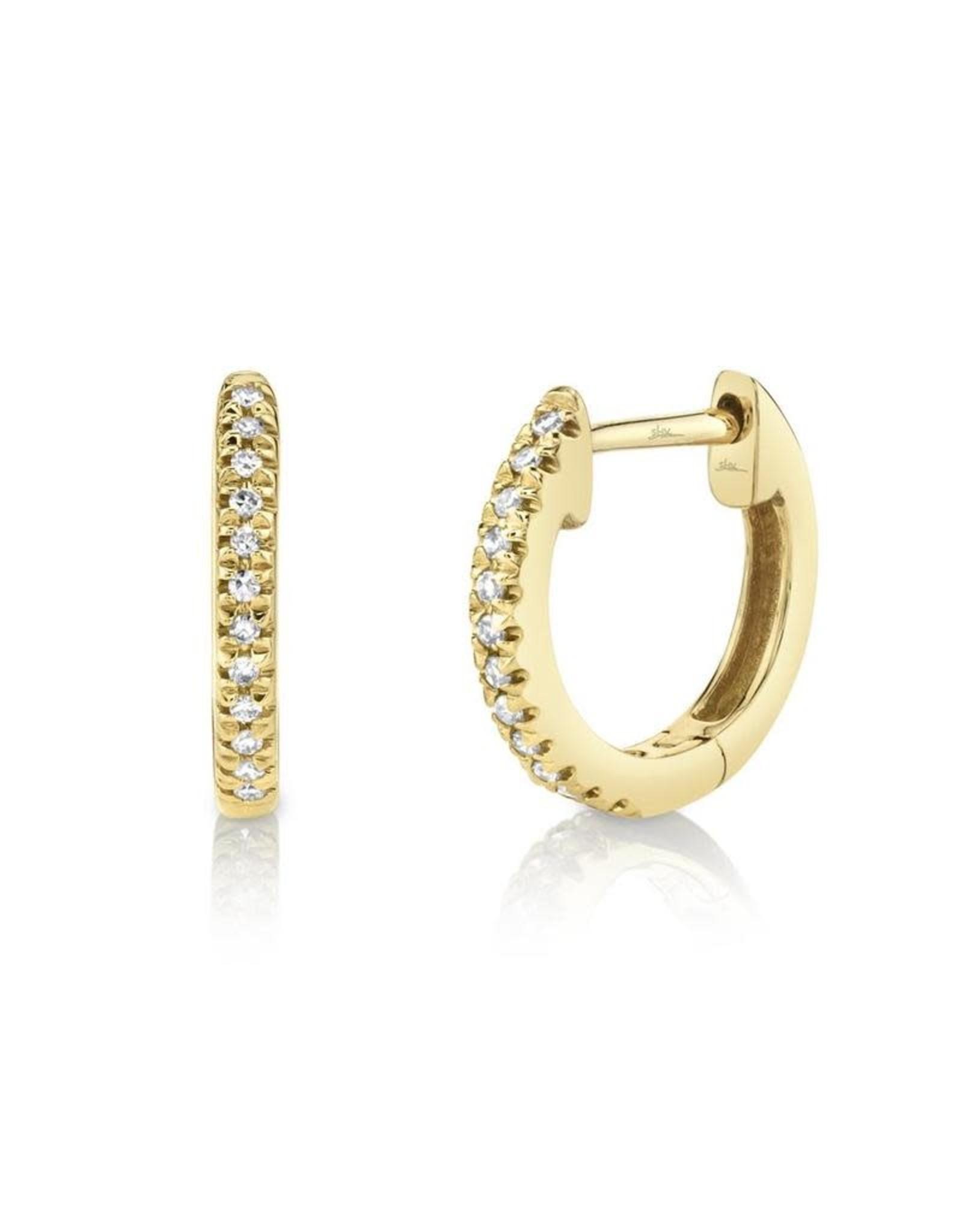 14K Yellow Gold Diamond Huggie Earrings, D: 0.07ct