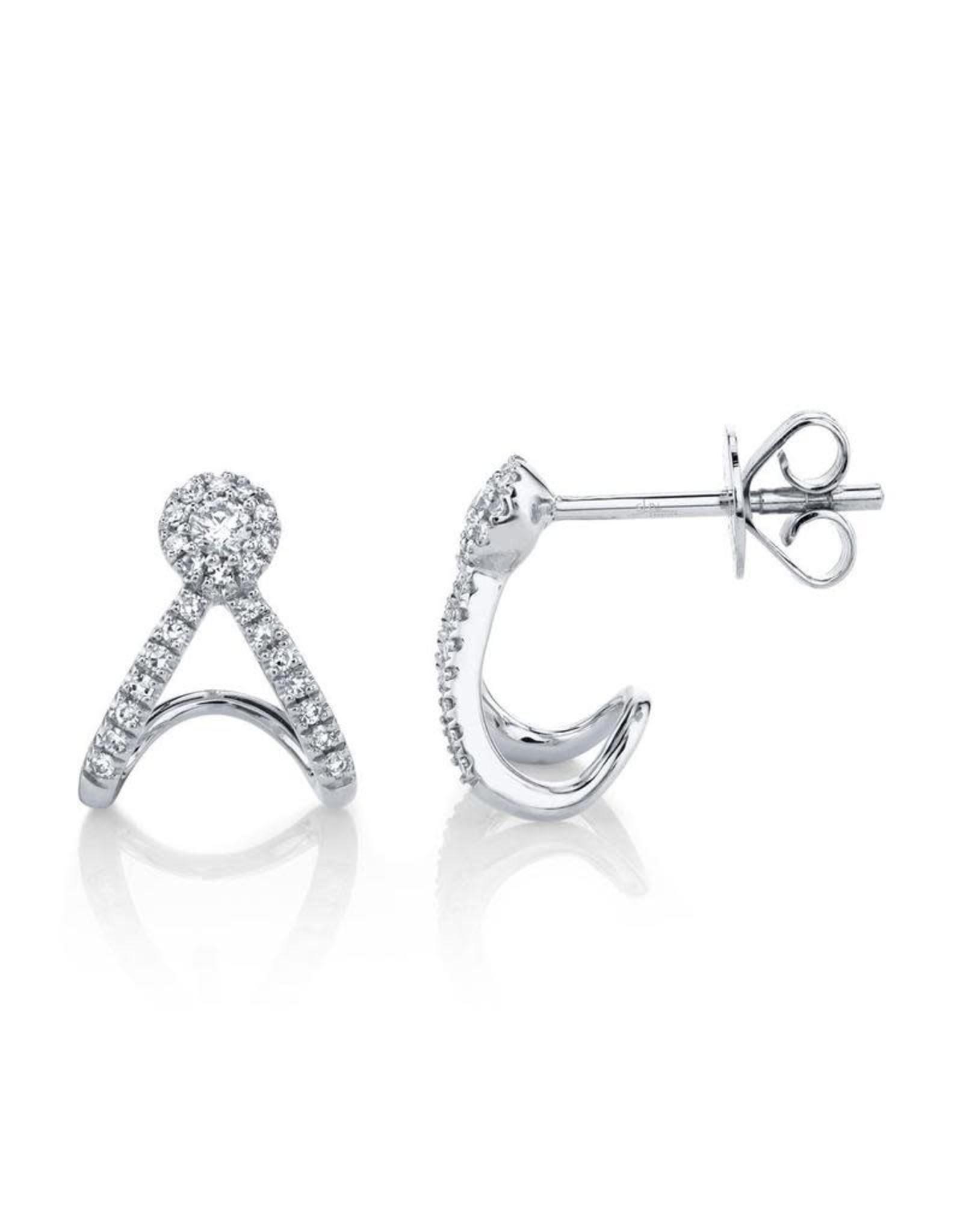 14K White Gold Diamond Earring Cuffs, D: 0.20ct
