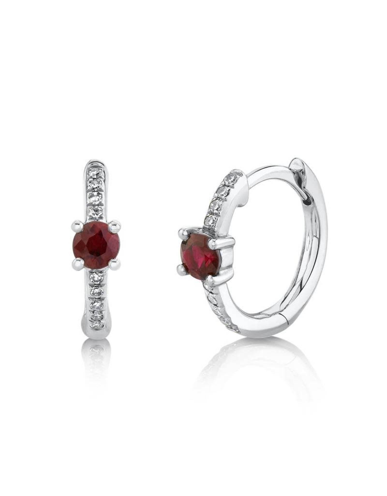 14K White Gold Ruby and Diamond Huggie Earrings, R: 0.29 ct, D: 0.06ct