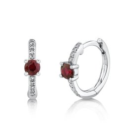 14K W/G Ruby and Diamond Huggies
