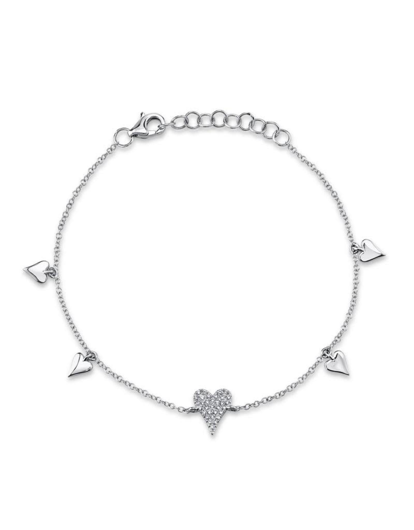 14K White Gold Dainty Pave Diamond Heart Charm Bracelet, D: 0.08ct