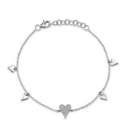 14K W/G Pave Diamond Heart Charm Bracelet
