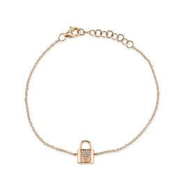 14K R/G Dainty Diamond Locket Bracelet