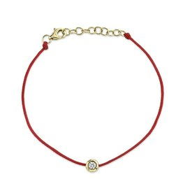 14K Y/G Dainty Diamond Cord Bracelet- Red