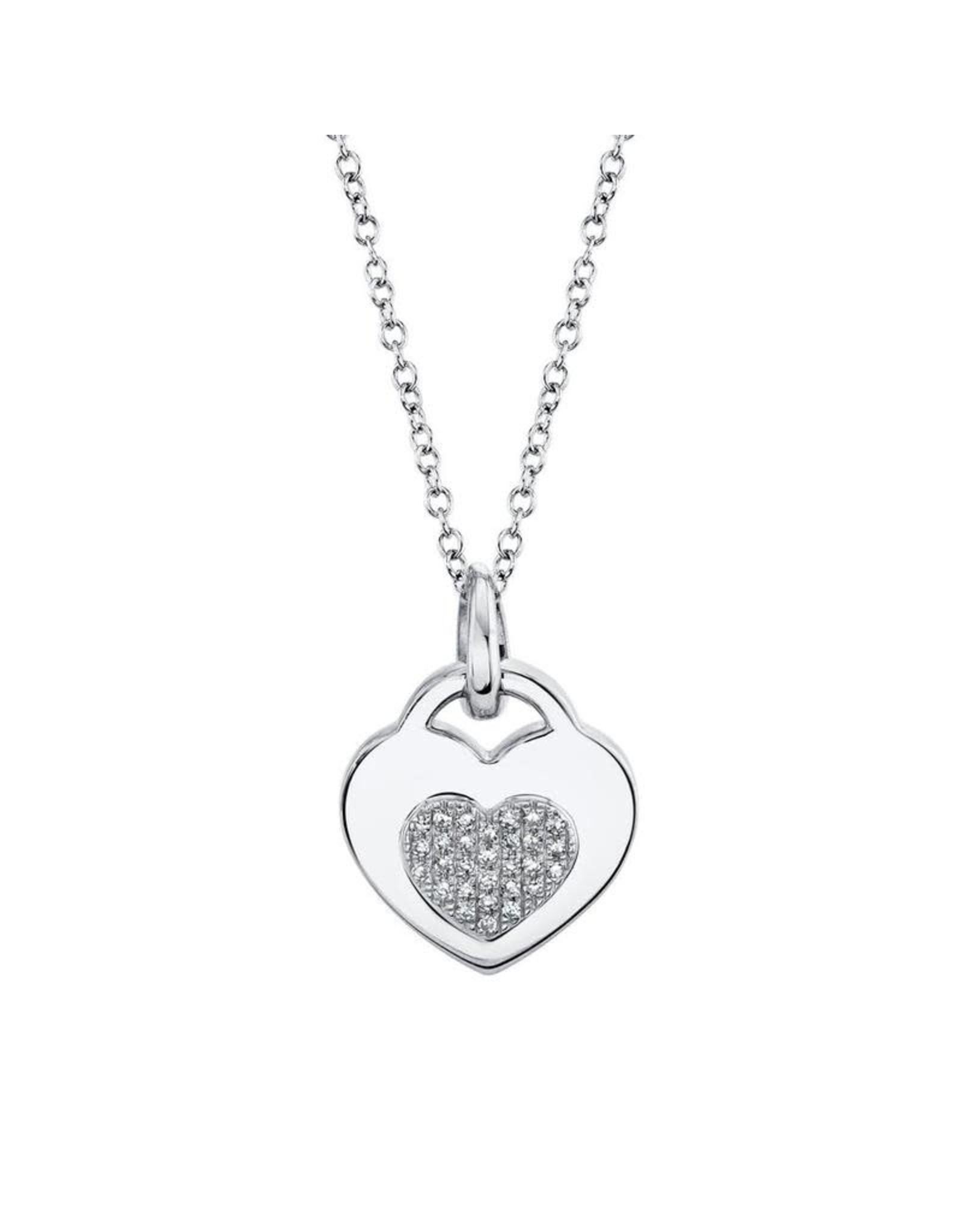 14K White Gold Diamond Heart Locket Necklace, D: 0.06ct