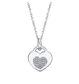 14K W/G Diamond Heart Locket Necklace