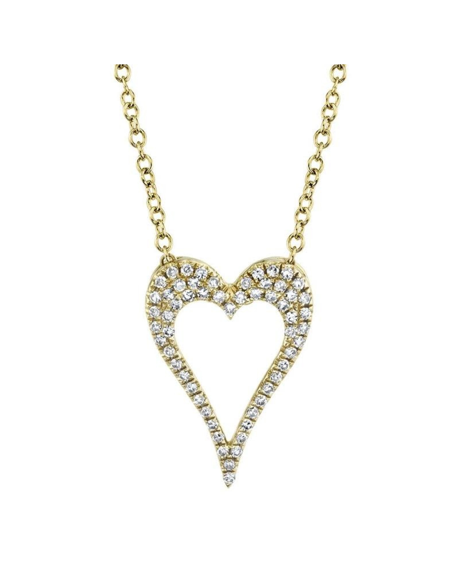 14K Y/G Diamond Heart Outline, D: 0.14ct