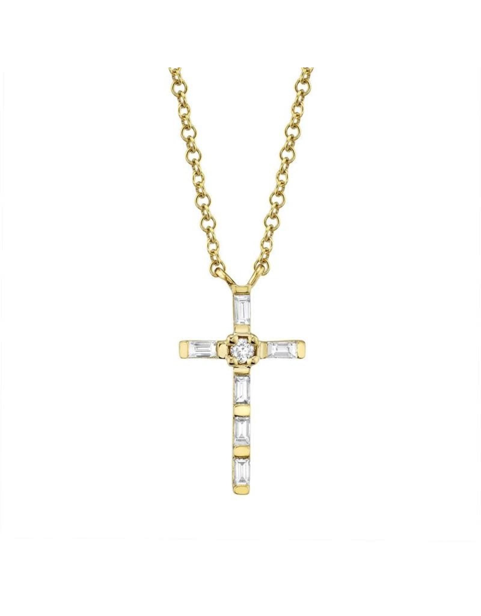 14K Yellow Gold Dainty Diamond Baguette Cross, D: 0.12ct