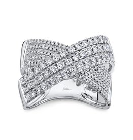 14K W/G Diamond Pave Crossover Ring