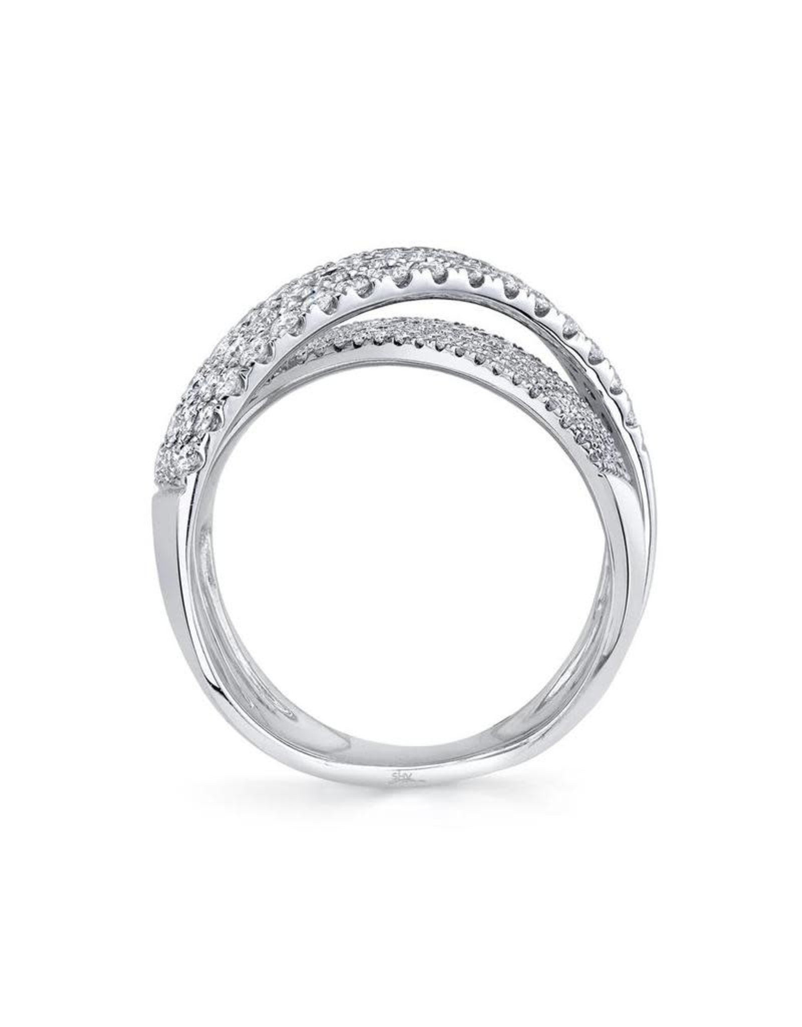 14K White Gold Diamond Pave Crossover Ring, D: 1.16ct