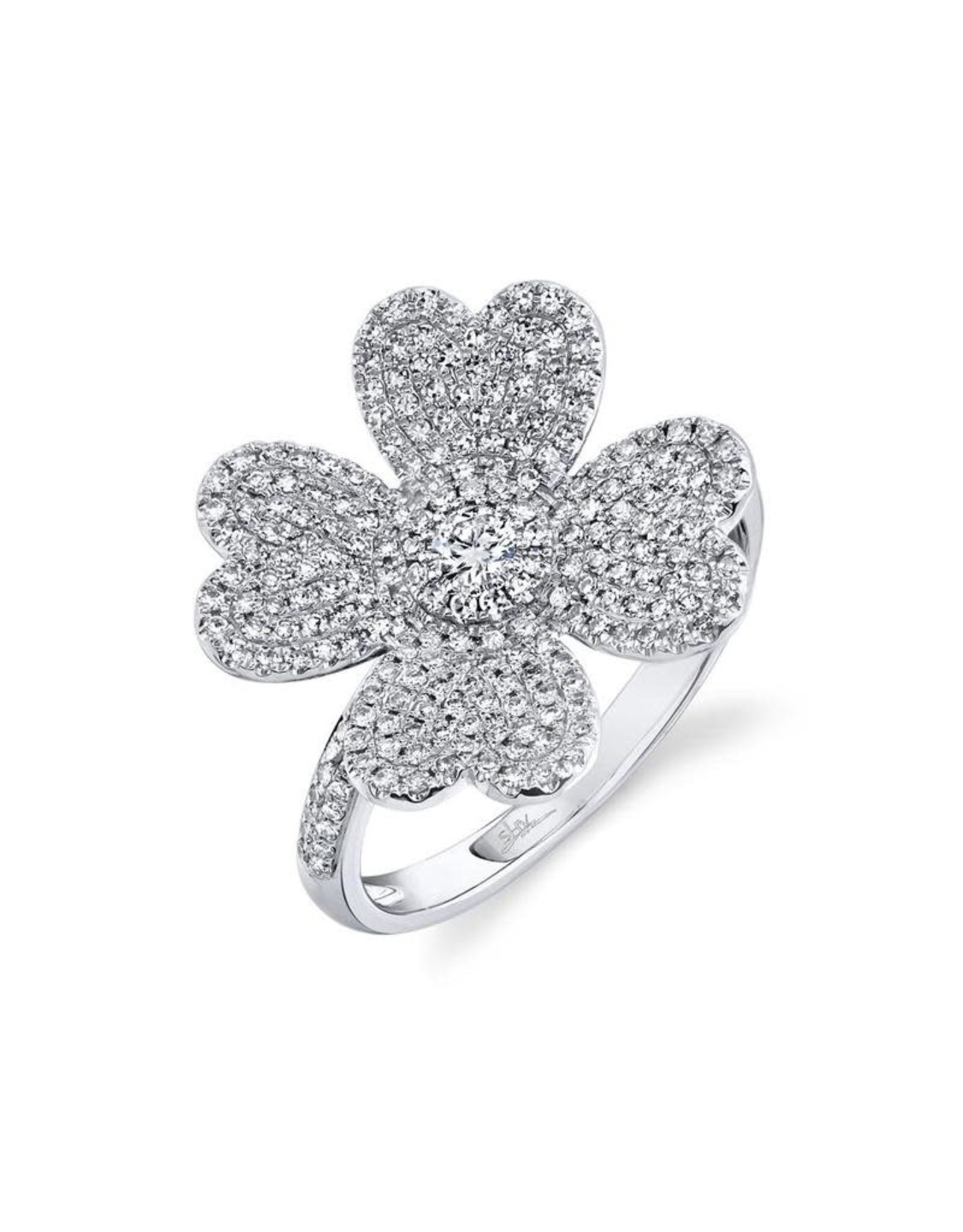 14K White Gold Pave Diamond Lucky Clover Ring, D: 0.63ct