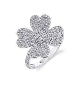 14K W/G Pave Diamond Lucky Clover Ring