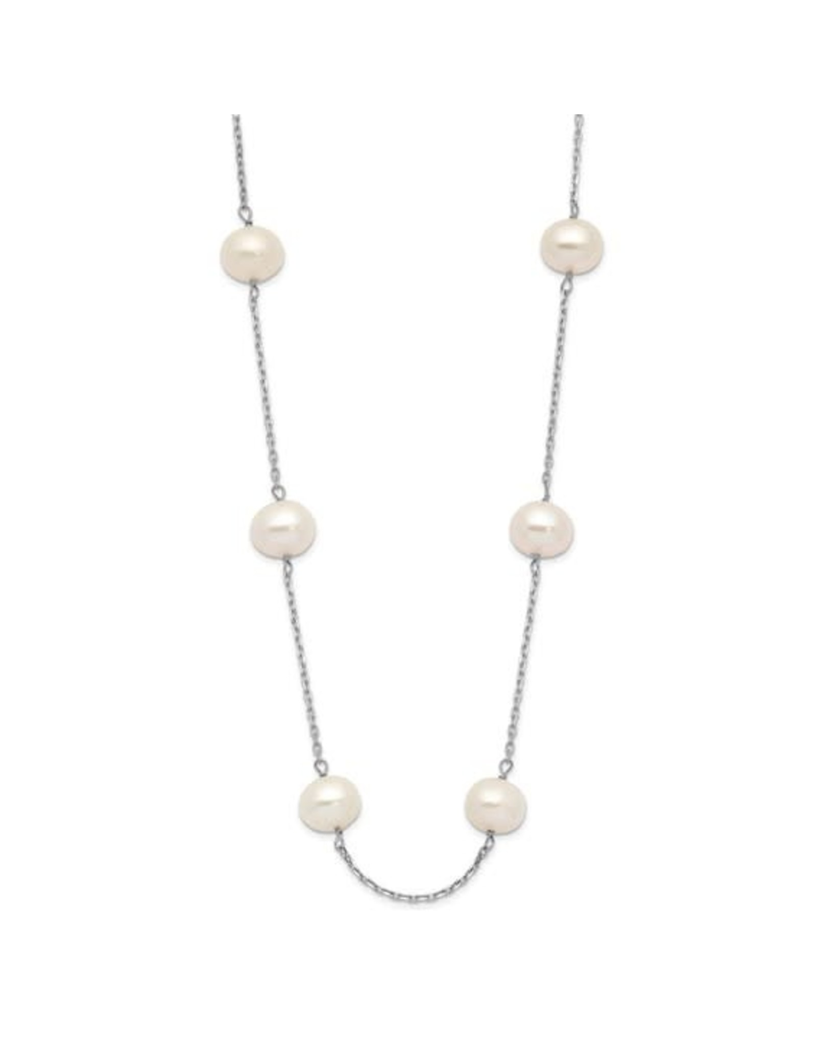 """14K White Gold Fresh Water Pearl Station Necklace, P: 6-7mm, 16"""""""