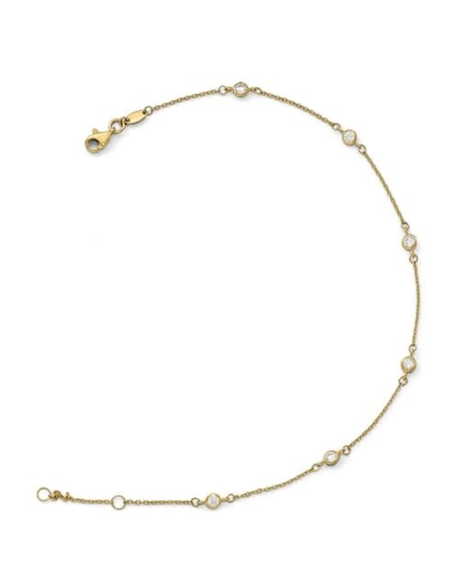 "14K Yellow Gold Zirconia By The Yard Anklet, 9"" ext"
