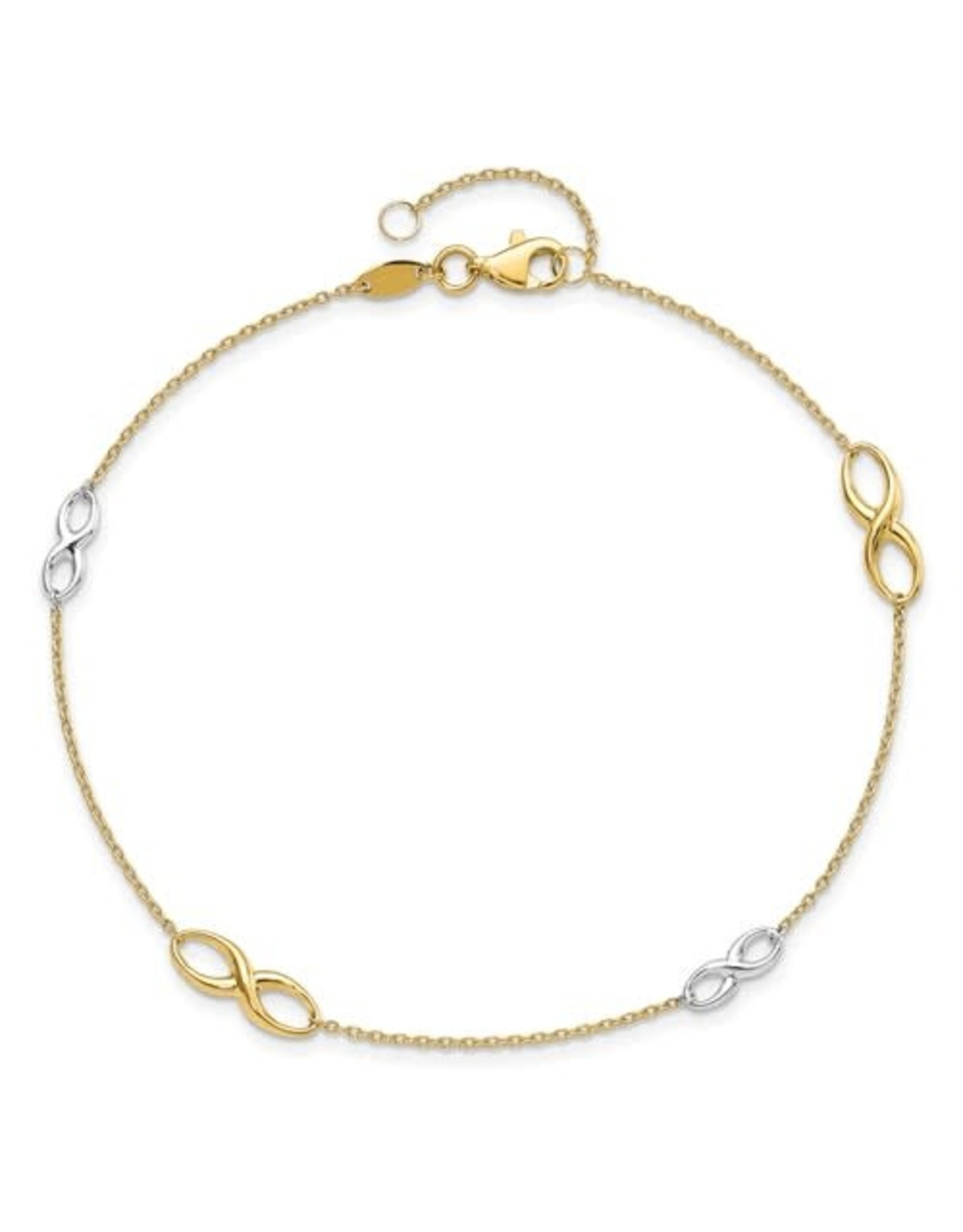 """14K 2-tone Infinity Anklet, 9"""" ext"""