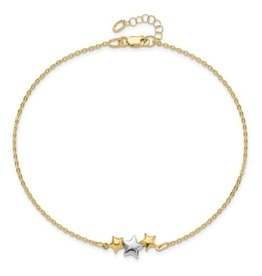 14K 2-tone Triple Star Anklet