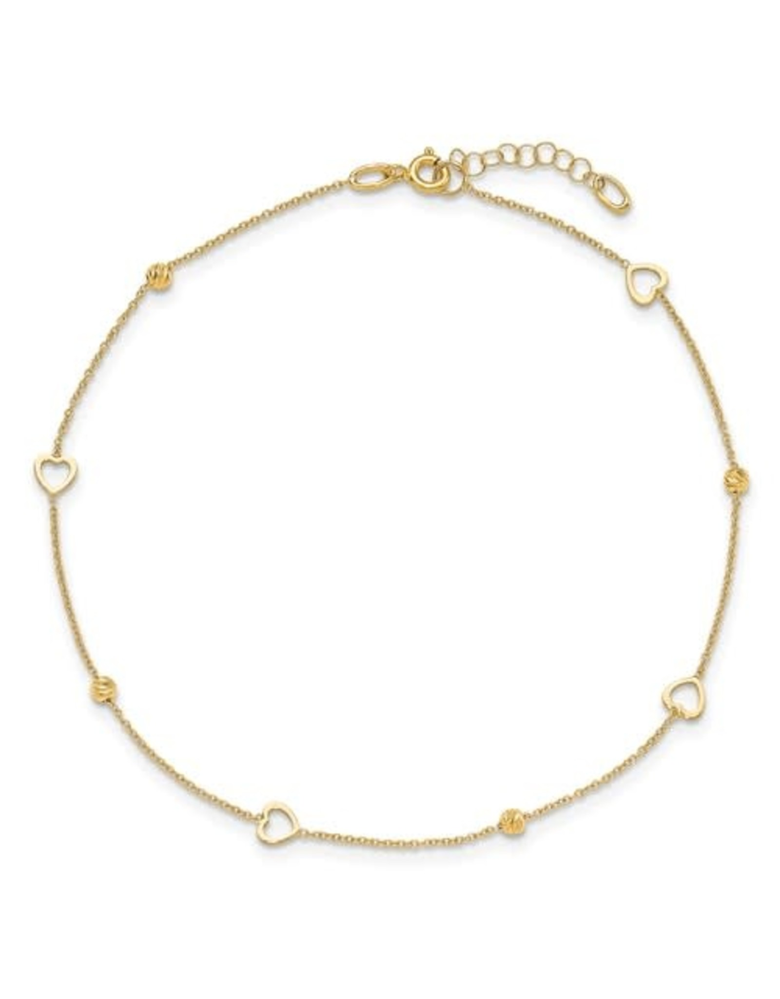 "14K Yellow Gold Polished Heart Anklet, 10"" ext"