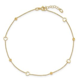 14K Y/G Polished Heart Anklet