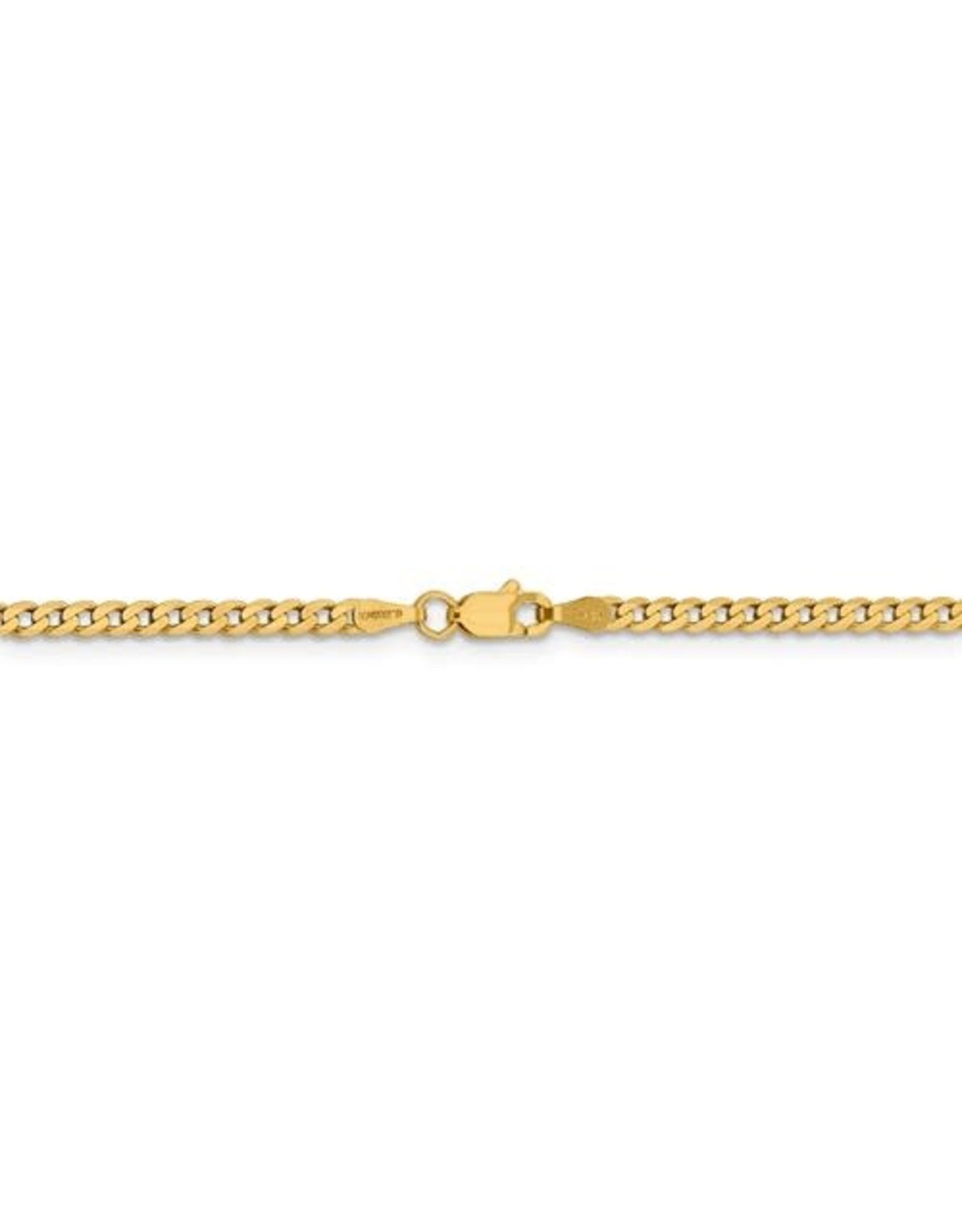 """14K Yellow Gold Beveled Curb Link Anklet, 10"""""""
