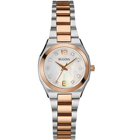 Ladies Bulova 2-tone Rose Gold and Stainless Steel Watch with Mother of Pearl Dial