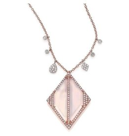 14K R/G Chalcedony and Diamond Necklace
