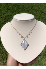 14K Rose Gold Chalcedony and Diamond Necklace, CH: 8.12ct, D: 0.84ct